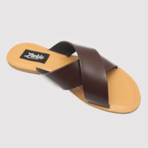 Yetu Cross Slippers Black Leather ZMP - Zorkle Shoes