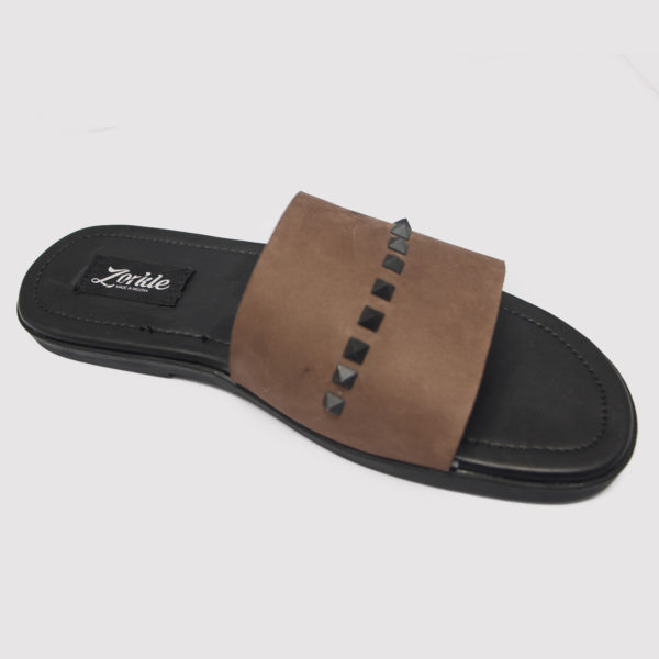 Ella Stud Slippers Coffee Brown Leather ZMP012 - Zorkle Shoes