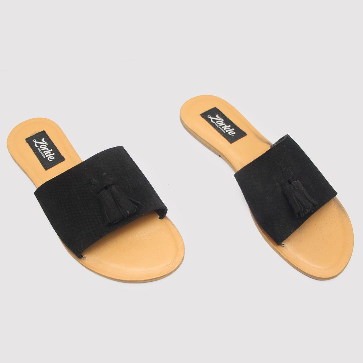 Tassel Slippers Black Suede ZFP059 - Zorkle Shoes