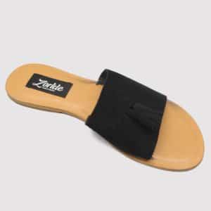 Tassel Slippers Black Suede ZMP020 - Zorkle Shoes