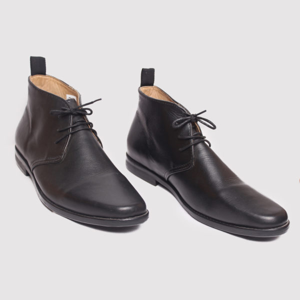 Chukka Boots Black Leather ZMB012 - Zorkle Shoes