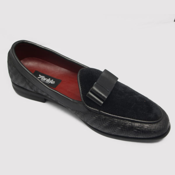 Zalet Bow Loafers Black Suede Leather ZMS051 - Zorkle Shoes