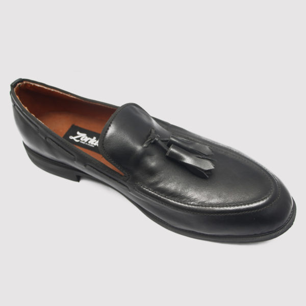 Hiland Tassel Loafers Black Leather ZMS022 - Zorkle Shoes