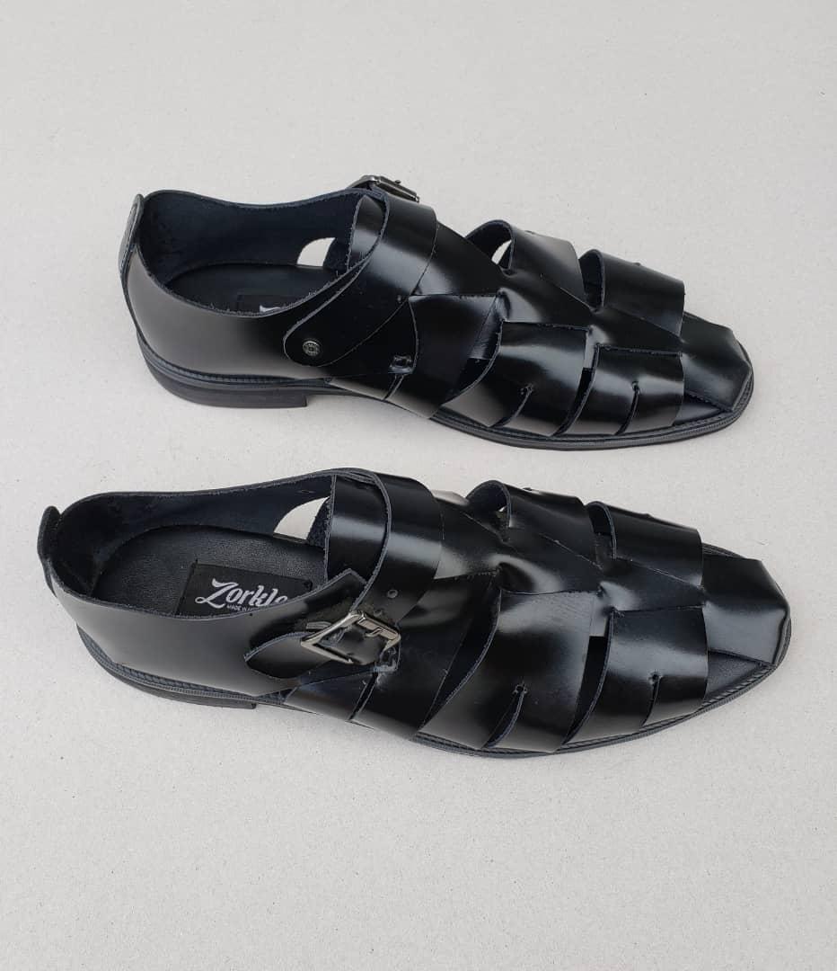 Delta man sandal black leather ZMD012 - Zorkles Shoes Nigeria
