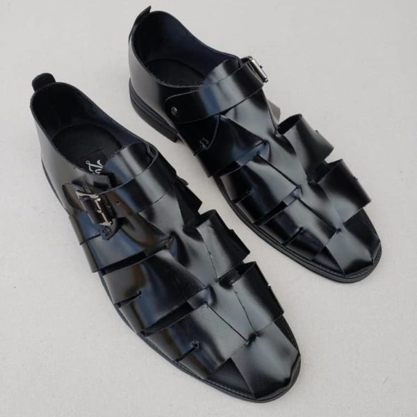 Delta man sandal black leather ZMD012 - Zorkles Shoes Nigeria