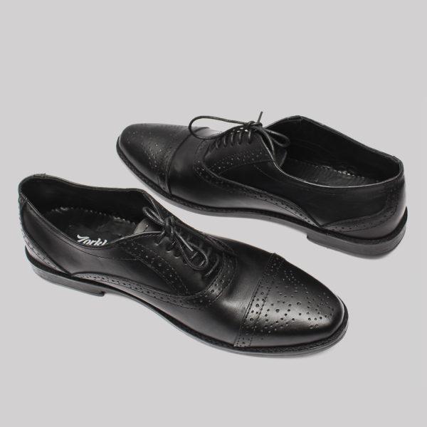 Lerke Captoe shoes black leather ZMS034 - Zorkle Shoes