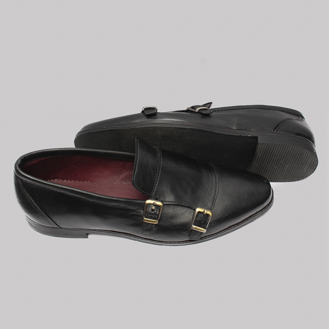 Monk double strap shoes black leather zorkles shoes in lagos nigeria