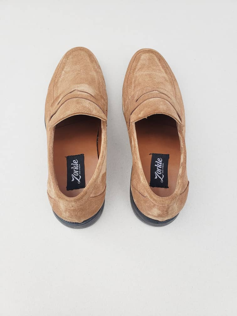 Penny Loafers Light Brown Suede ZMS045 - Zorkle Shoes