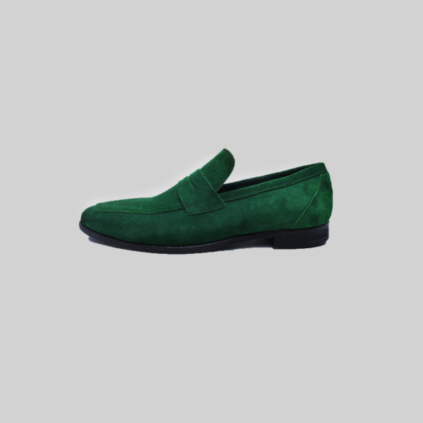 Penny Loafers Dark Green Suede ZMS087 - Zorkle Shoes