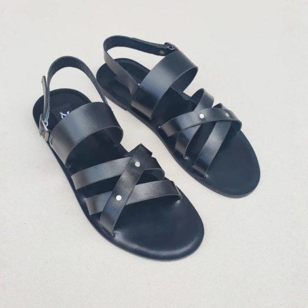 Roman Gladiator Sandals Black Leather ZMD021 - Zorkle Shoes