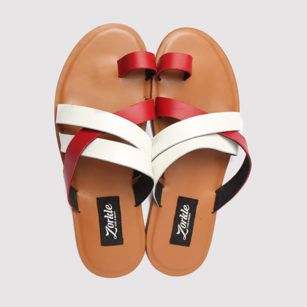 Stell cross slippers red white leather zorkle shoes in lagos nigeria