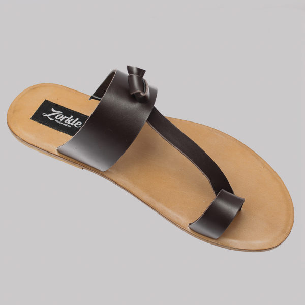 Thong Slippers Brown Leather ZMP062 - Zorkle Shoes