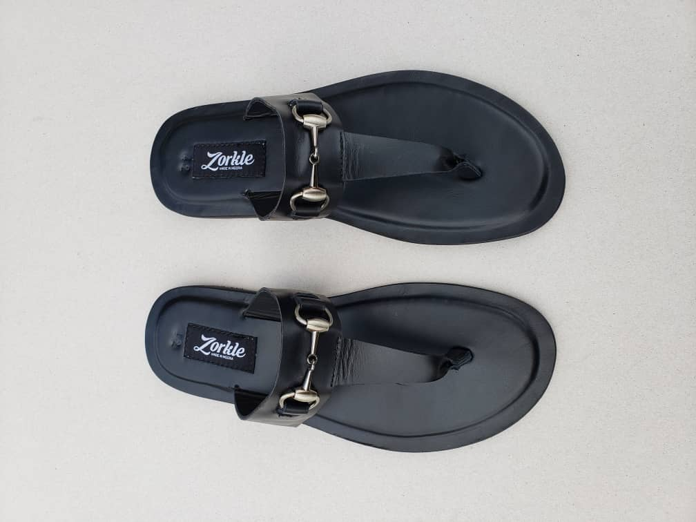 Trey Slippers Black Leather ZMP034 - Zorkle Shoes