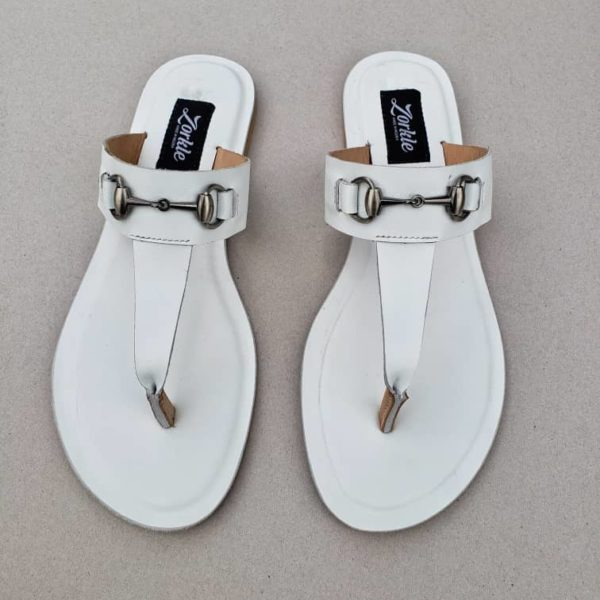 Trey Slippers white Leather ZMP104 - Zorkle Shoes