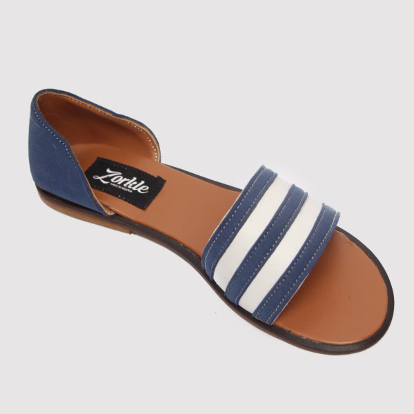 Kisha sandals blue white leather zorkle shoes in lagos nigeria