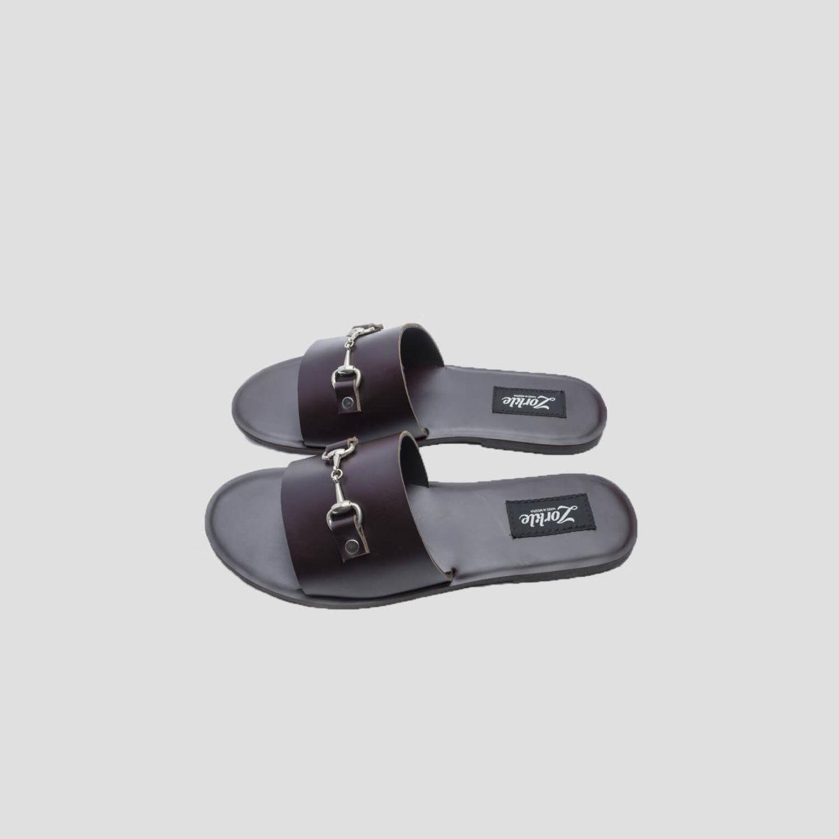 Nero Slippers Coffee Leather Horse-bit zorkle shoes lagos nigeria