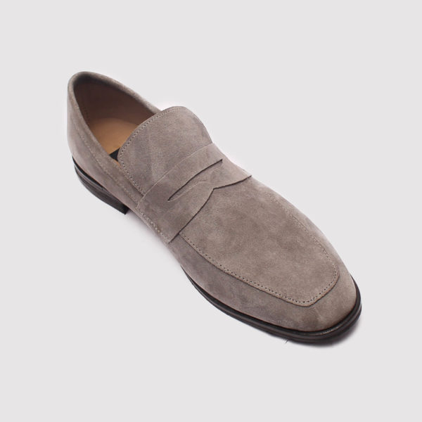 penny loafers grey suede by zorkle shoes in lagos nigeria