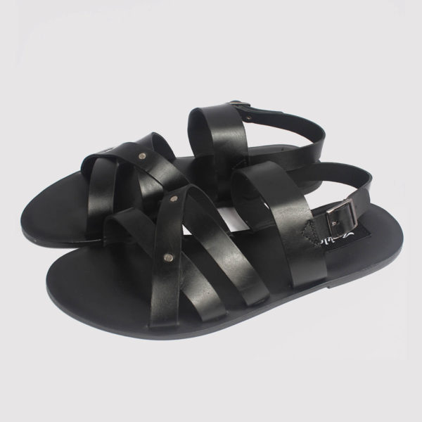 roman gladiator sandals black leather by zorkle shoes in lagos nigeria