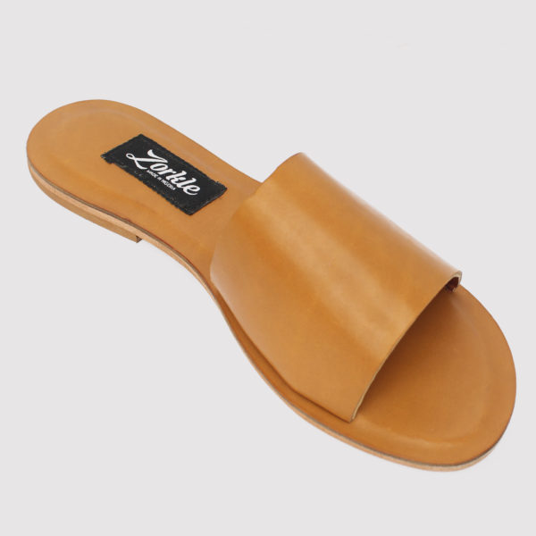 Tiola Wide Strap Slides Brown Leather ZFP027 - Zorkle Shoes