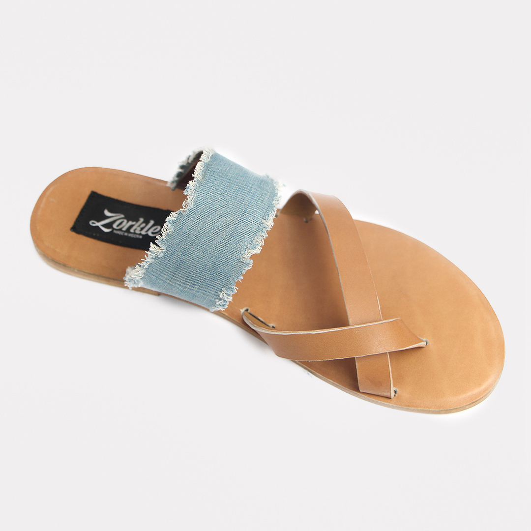 Juss denim arc slippers brown leather zorkles shoes in lagos nigeria