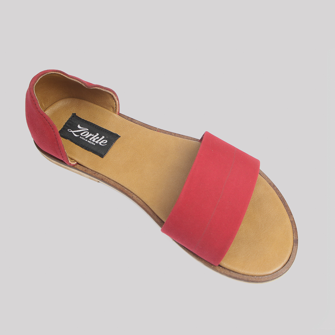Kisha sandals red leather zorkles shoes in lagos nigeria
