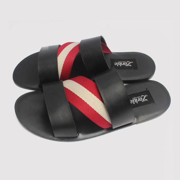 aliko slippers black leather by zorkle shoes in lagos nigeria