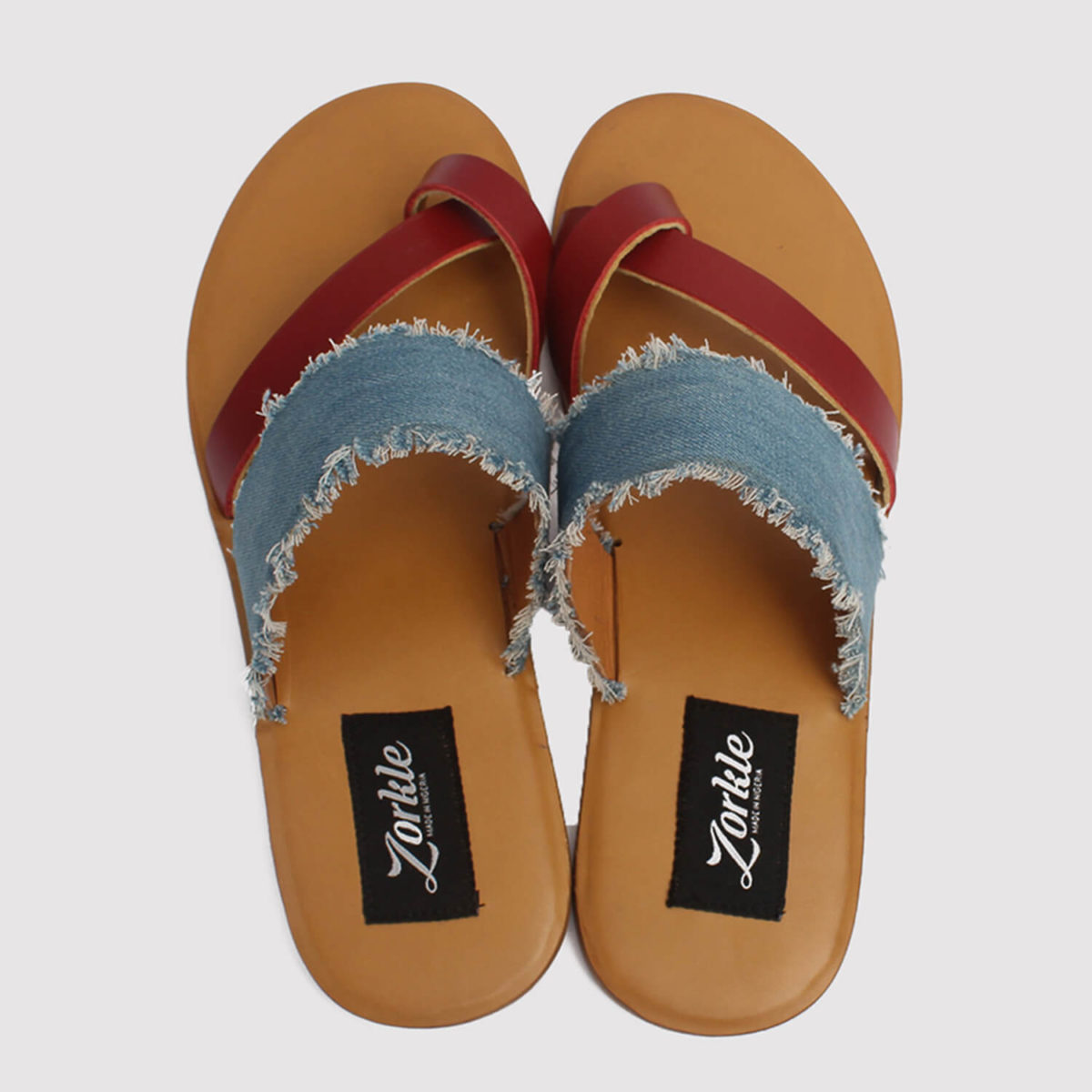 juss denim arc slippers red leather by zorkle shoes in lagos nigeria