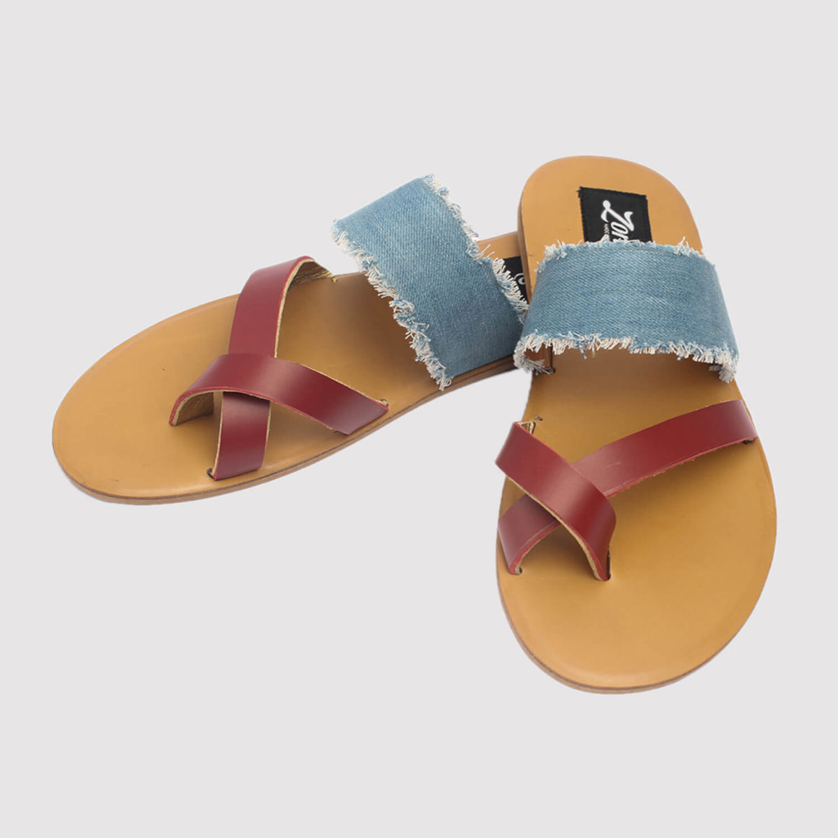 juss denim arc slippers red leather by zorkle shoes lagos nigeria