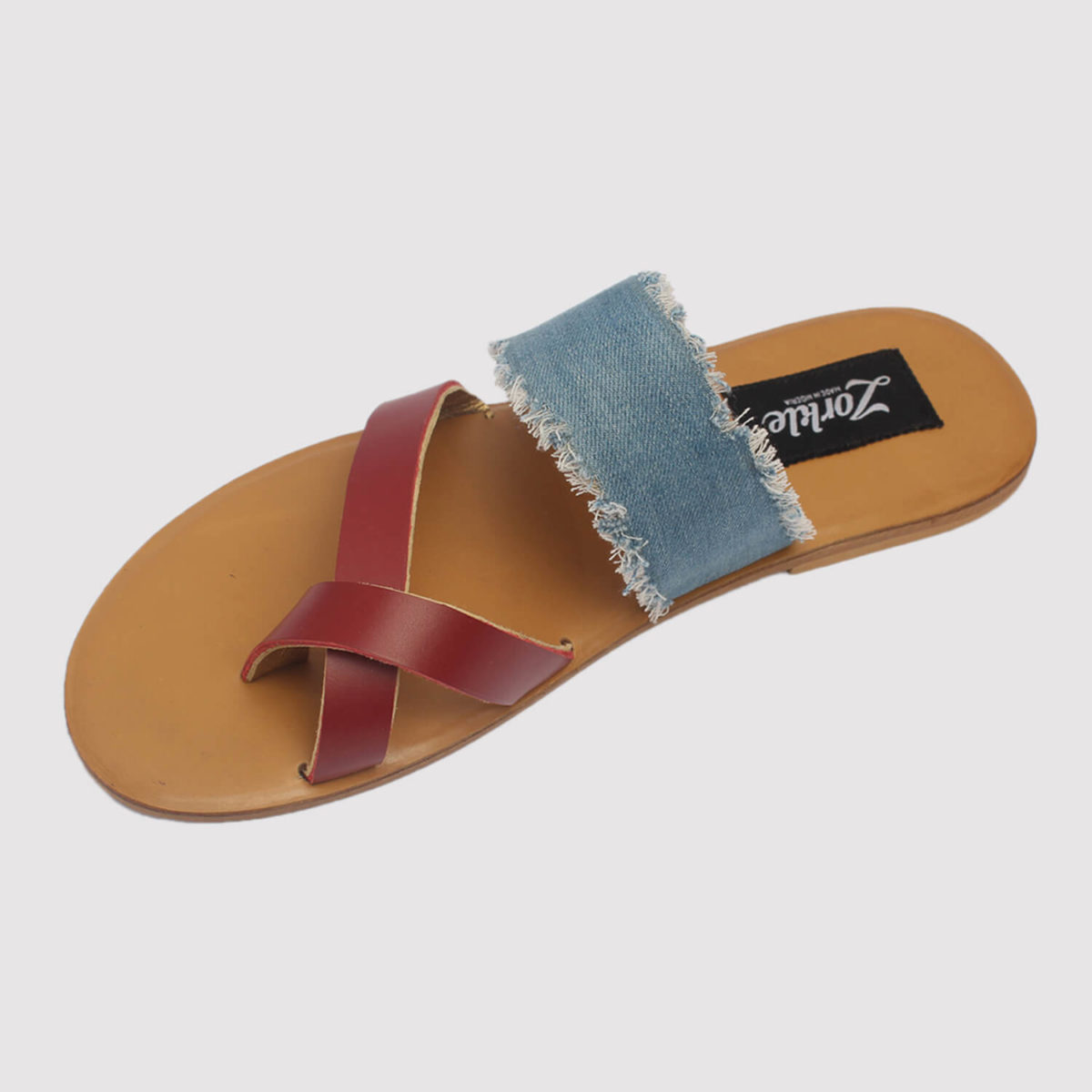 juss denim arc slippers red leather zorkle shoes in lagos nigeria