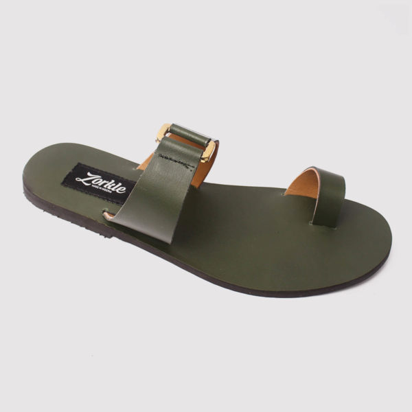 kweenly slippers green leather by zorkle shoes in lagos nigeria