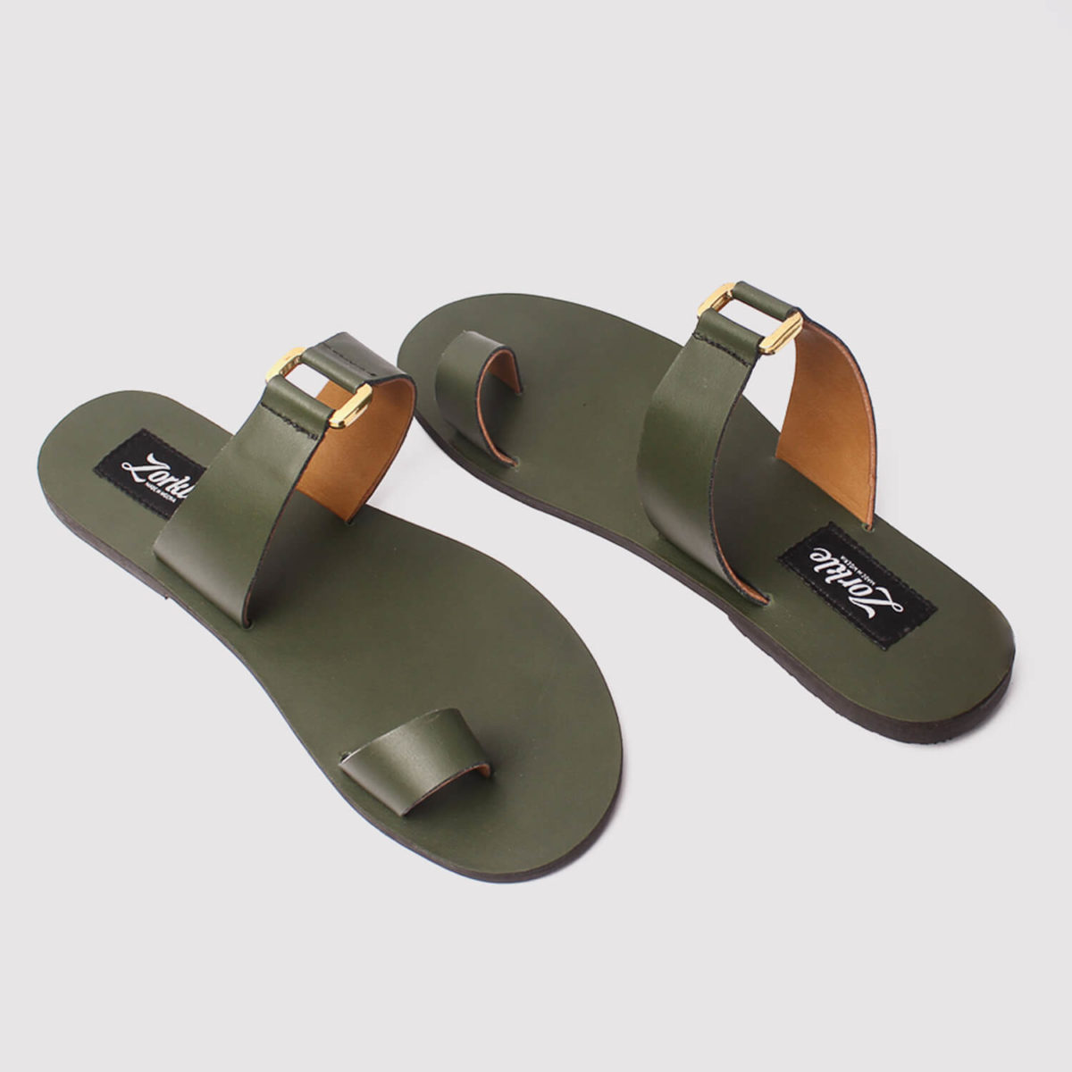 kweenly slippers green leather by zorkle shoes lagos nigeria