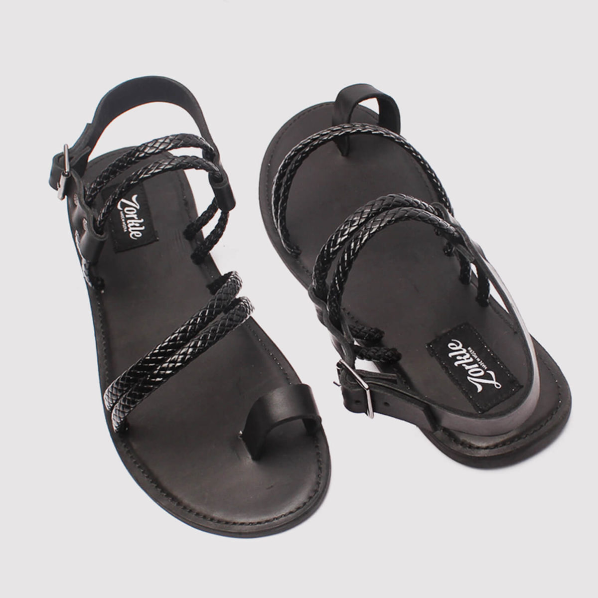 morsi black leather sandals by zorkle shoes lagos nigeria