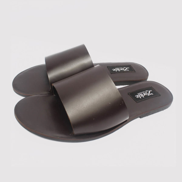 nero slippers coffee brown leather by zorkle shoes in lagos nigeria