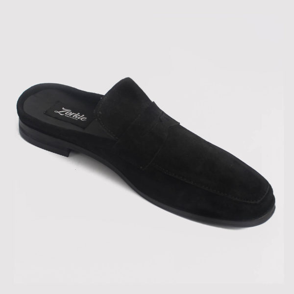 penny loafers half shoes black suede by zorkle shoes lagos nigeria