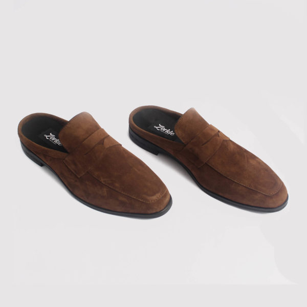 penny loafers half shoes brown suede by zorkle shoes in lagos nigeria