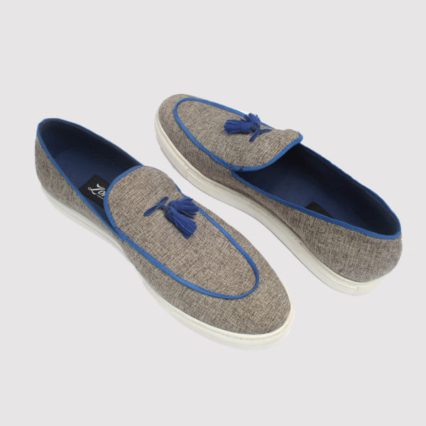 taylor tassel loafers grey fabric by zorkle shoes lagos nigeria
