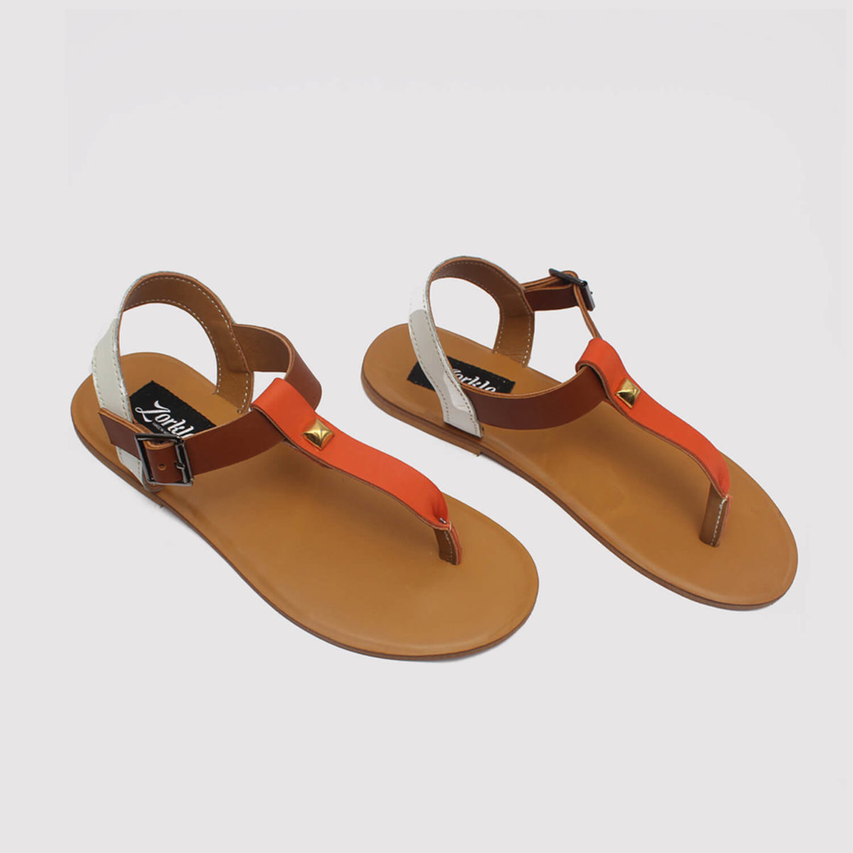 toke sandals orange brown white by zorkle shoes in lagos nigeria