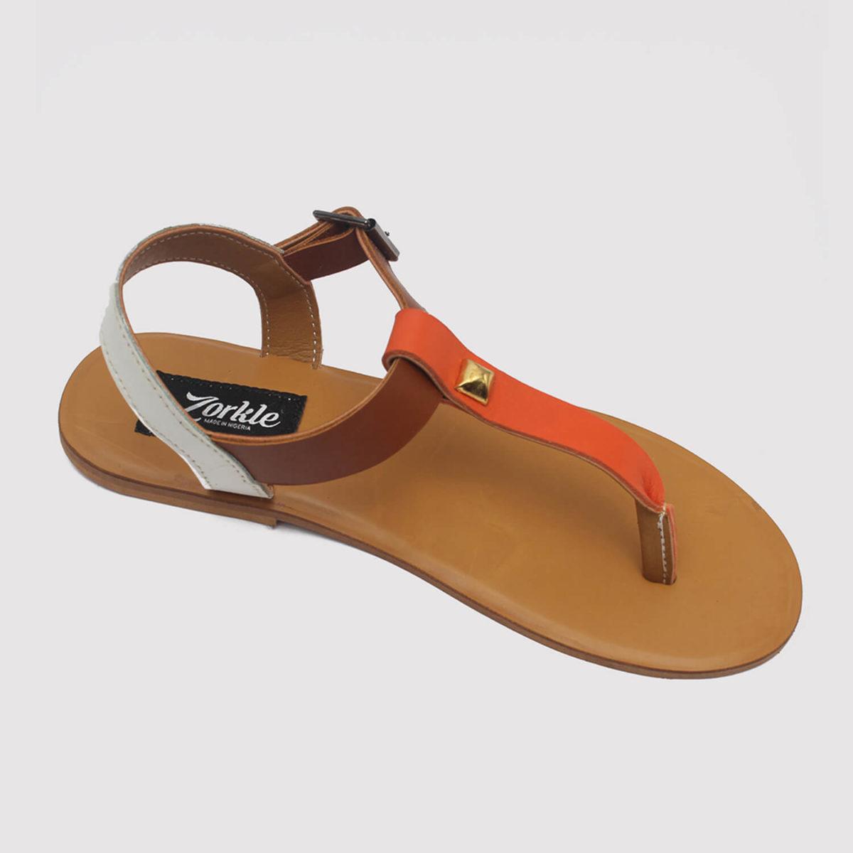 toke sandals orange brown white by zorkle shoes lagos nigeria