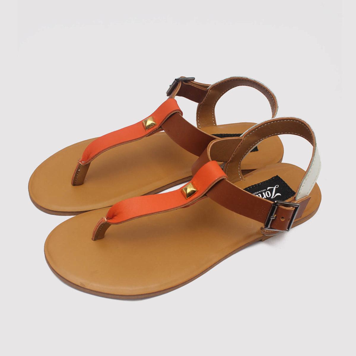 toke sandals orange brown white zorkle shoes in lagos nigeria