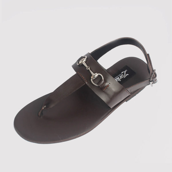 trey sandals coffee brown leather by zorkle shoes lagos nigeria