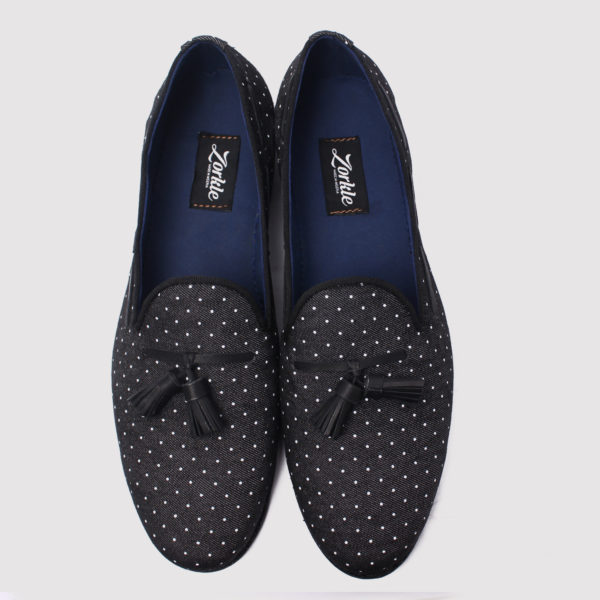 Dortman tassel loafers black fabric zorkle shoes in lagos nigeria