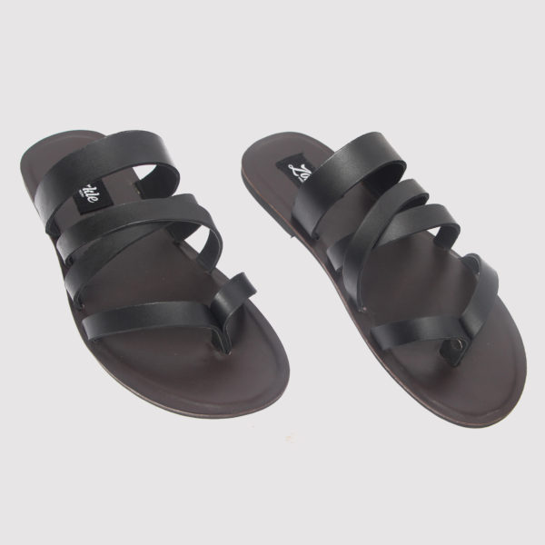 Gladiator slippers black leather zorkle shoes in lagos nigeria