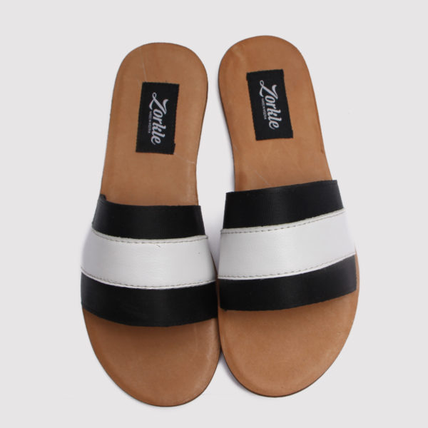 Lere flex slippers white black leather zorkles shoes in nigeria