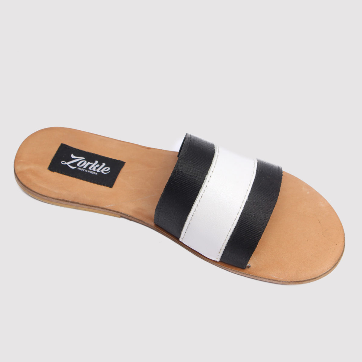 Lere flex slippers white brown leather zorkles shoes in nigeria