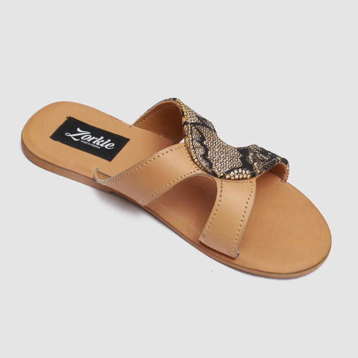 Habi slippers brown satin zorkles shoes in lagos nigeria