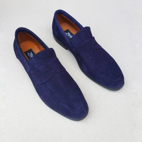 Penny Loafers Blue Suede ZMS070 - Zorkle Shoes