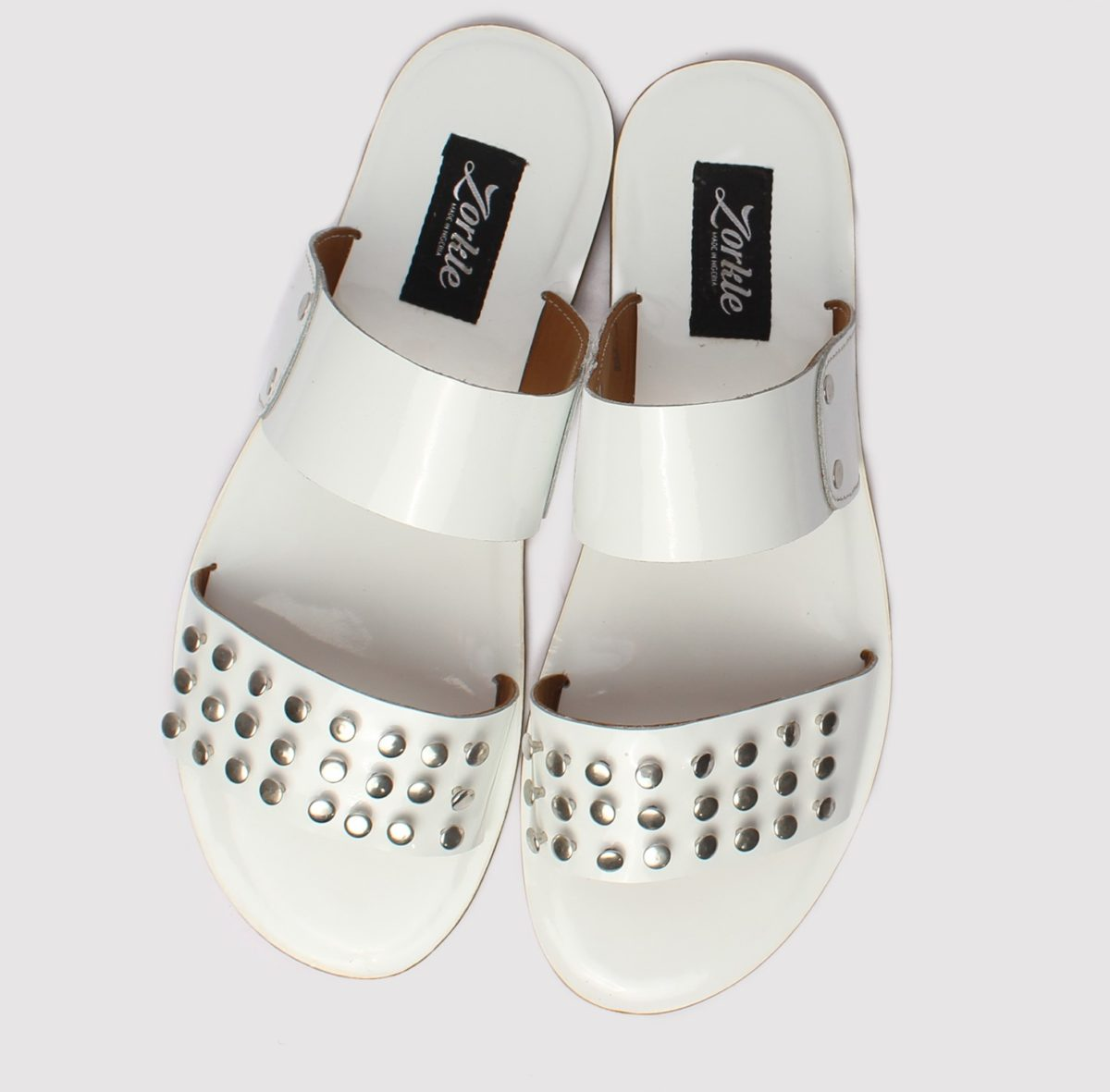 Stud slippers white leather orkle shoes in lagos nigeria