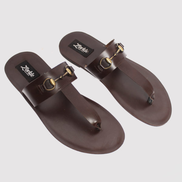 Trey slippers coffee brown leather zorkle shoes in lagos nigeria