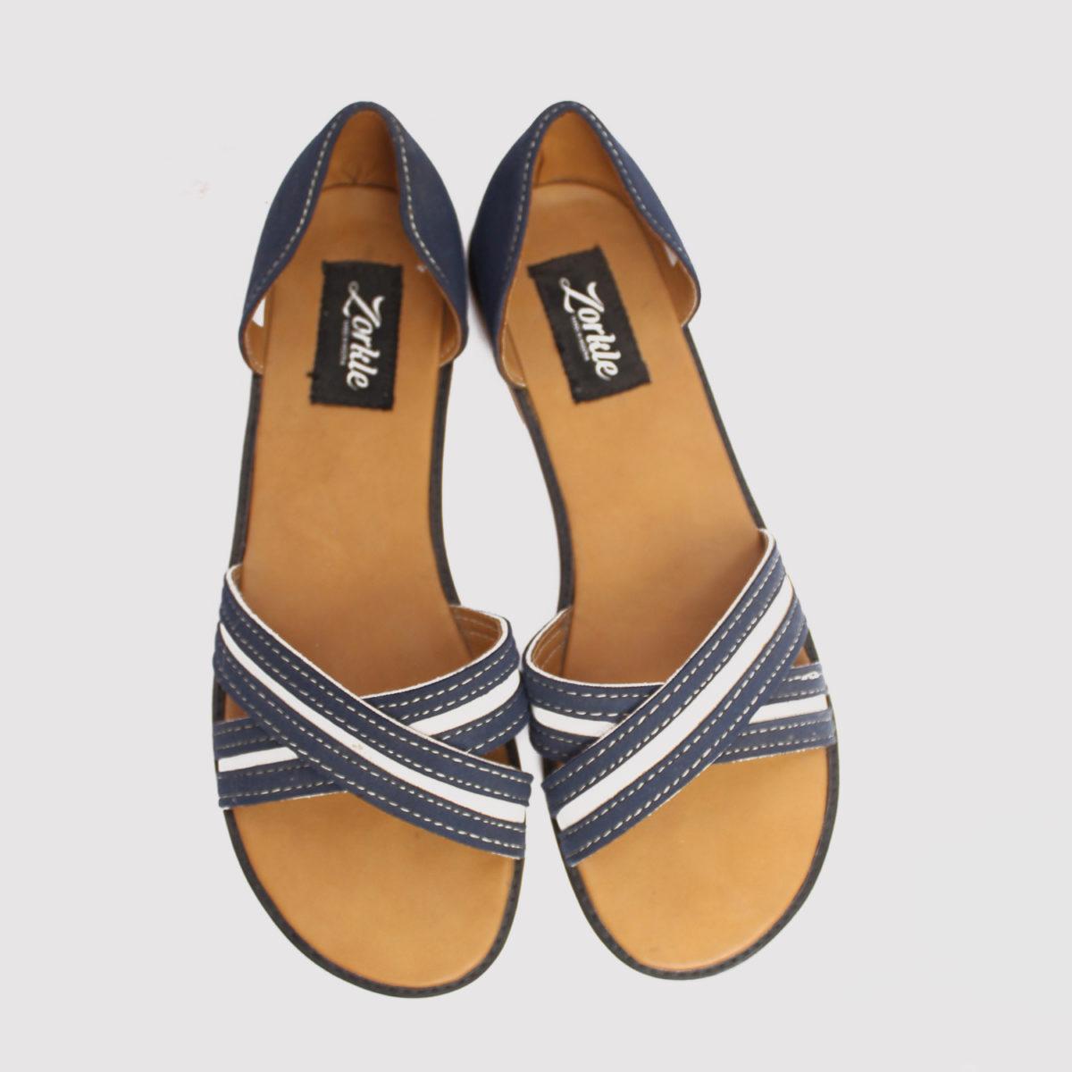 Kisha crisscross sandals blue white leather zorkle shoes in lagos nigeria