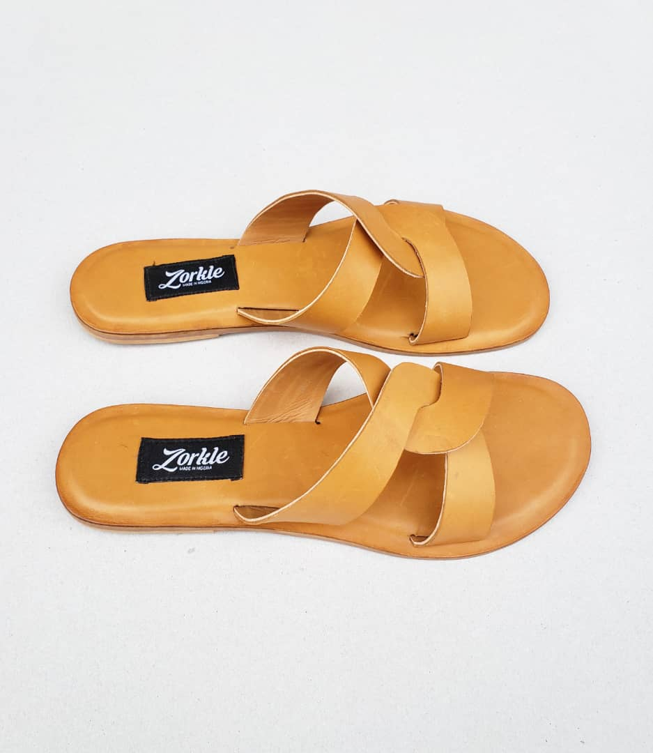 CeeCee Slippers Brown Leather ZFP040 - Zorkle Shoes